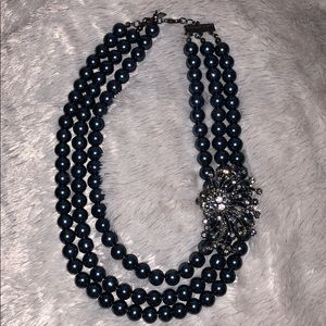 Navy Blue Faux pearl necklace
